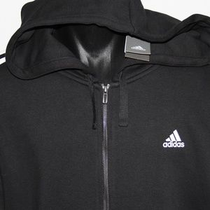 adidas 3 Bar Full Zip Cotton Blend Hoodie XXL Tall